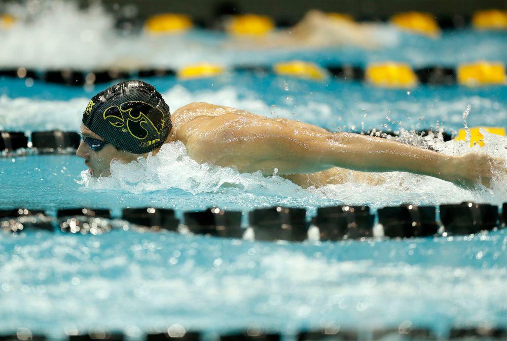 Iowa's Jerzy Twarowski swims the 200 yard butterfly