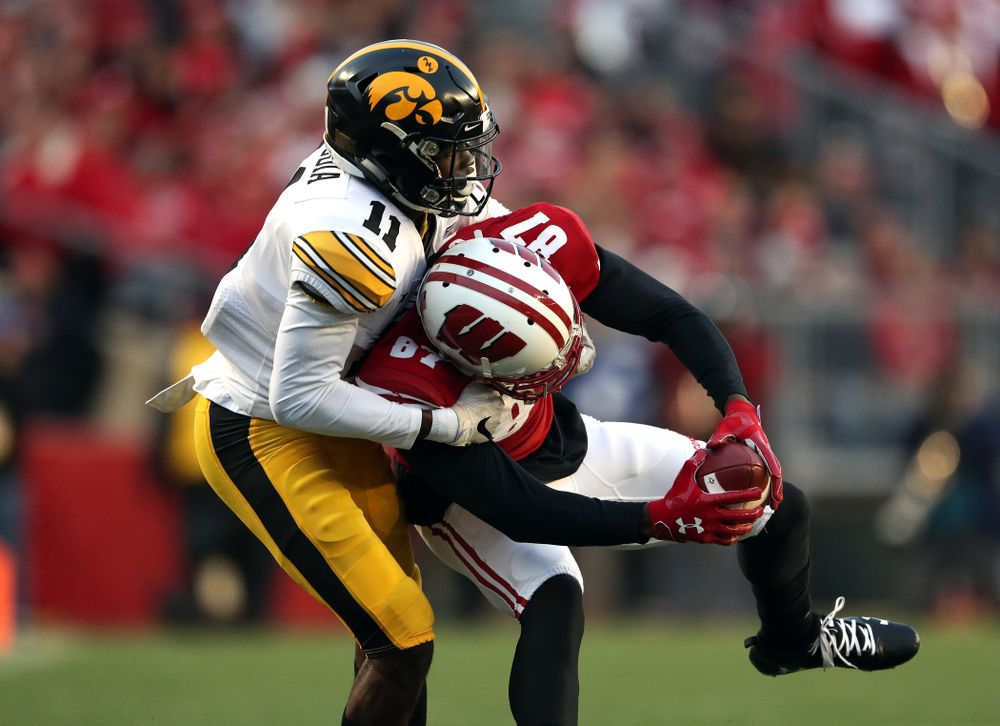 Iowa Hawkeyes defensive back Michael Ojemudia (11) against the Wisconsin Badgers Saturday, November 9, 2019 at Camp Randall Stadium in Madison, Wisc. (Brian Ray/hawkeyesports.com)