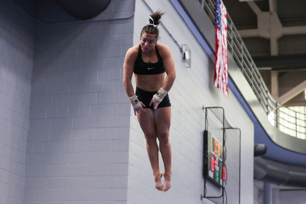 Ariana Agrapides performs on the vault during the Iowa women's gymnastics Black and Gold Intraquad Meet on Saturday, December 7, 2019 at the UI Field House. (Lily Smith/hawkeyesports.com)