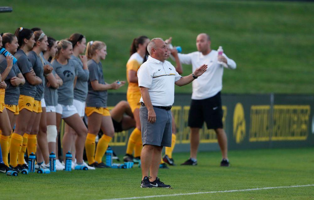 Iowa Hawkeyes head coach Dave DiIanni against the Missouri Tigers Friday, August 17, 2018 at the Iowa Soccer Complex. (Brian Ray/hawkeyesports.com)
