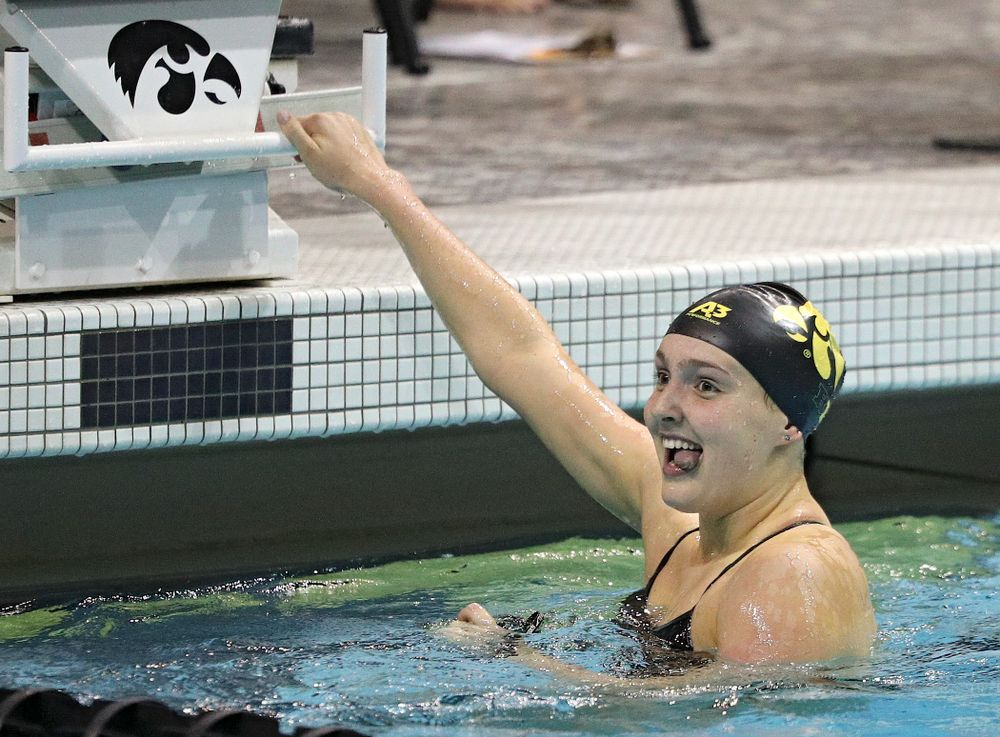 Iowa's Emilia Sansome reacts after swimming the women's 50-yard backstroke event during their meet against Michigan State at the Campus Recreation and Wellness Center in Iowa City on Thursday, Oct 3, 2019. (Stephen Mally/hawkeyesports.com)