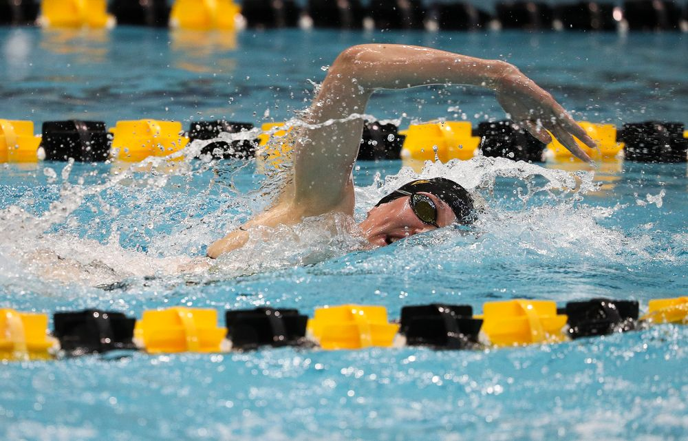 Iowa's Allyssa Fluit competes in the 100-yard freestyle during a meet against Michigan and Denver at the Campus Recreation and Wellness Center on November 3, 2018. (Tork Mason/hawkeyesports.com)