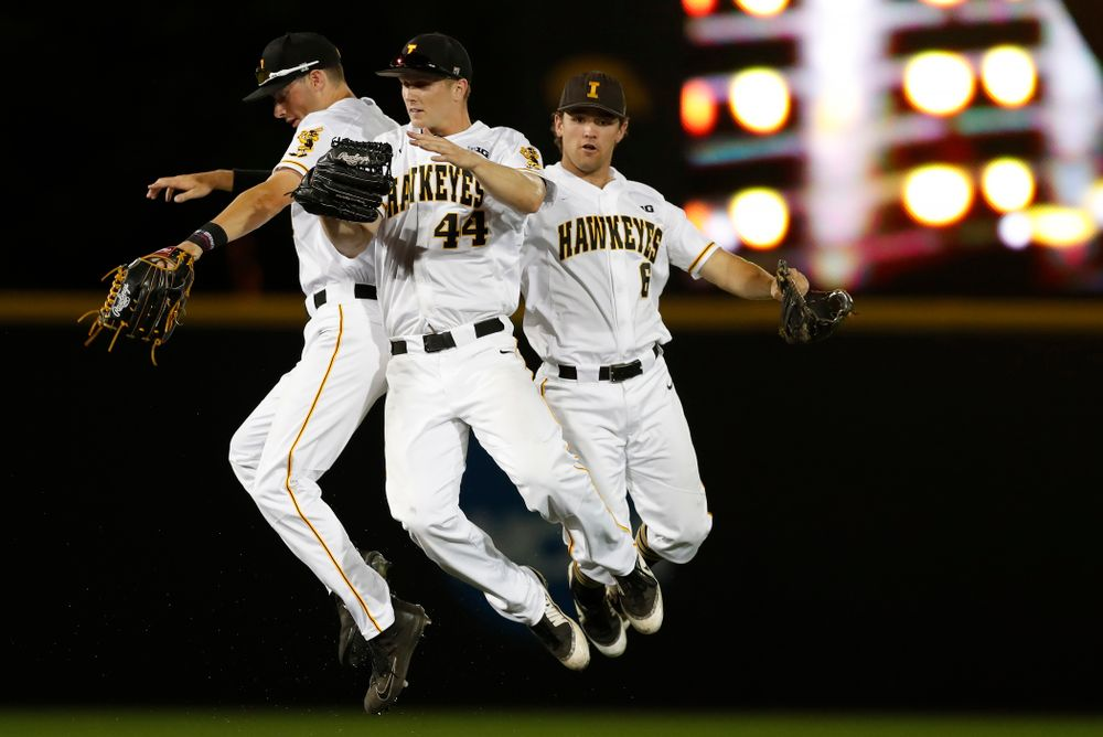 Iowa Hawkeyes outfielder Ben Norman (9), outfielder Robert Neustrom (44), and outfielder Justin Jenkins (6) against the Penn State Nittany Lions  Thursday, May 17, 2018 at Duane Banks Field. (Brian Ray/hawkeyesports.com)