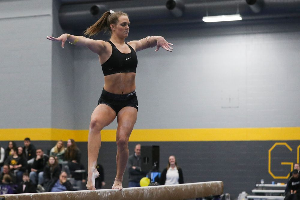 Ashley Smith performs on the beam during the Iowa women's gymnastics Black and Gold Intraquad Meet on Saturday, December 7, 2019 at the UI Field House. (Lily Smith/hawkeyesports.com)