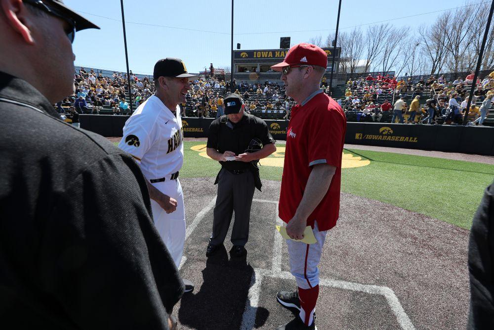 Iowa Hawkeyes head coach Rick Heller against the Nebraska Cornhuskers Saturday, April 20, 2019 at Duane Banks Field. (Brian Ray/hawkeyesports.com)