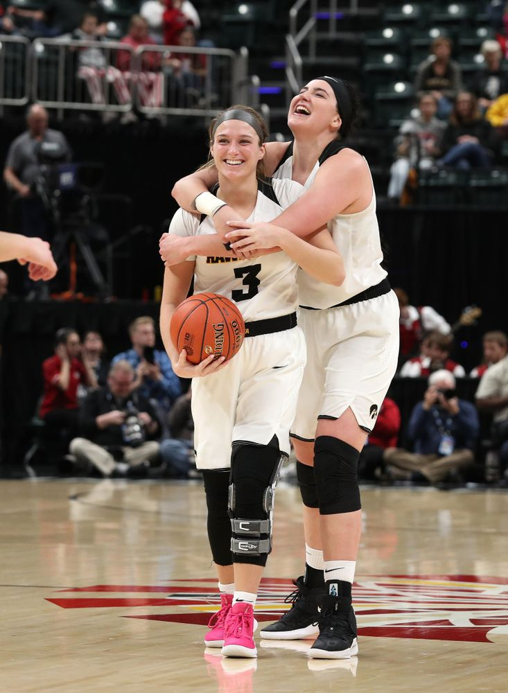 Iowa Hawkeyes forward Megan Gustafson (10) and guard Makenzie Meyer (3) against the Indiana Hoosiers in the quarterfinals of the Big Ten Tournament Friday, March 8, 2019 at Bankers Life Fieldhouse in Indianapolis, Ind. (Brian Ray/hawkeyesports.com)