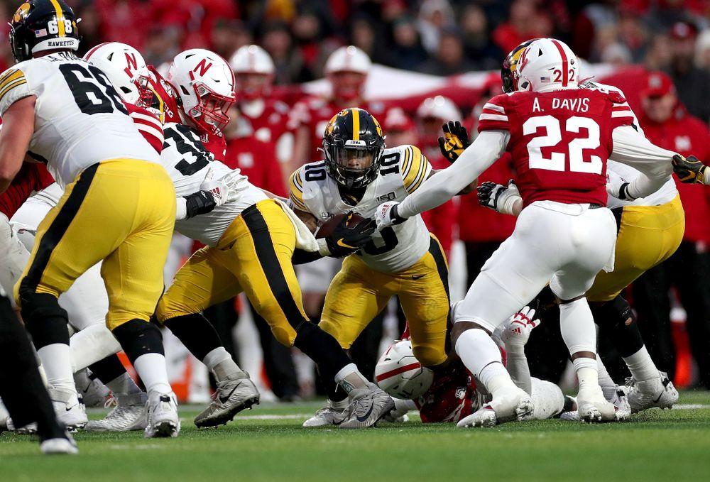 Iowa Hawkeyes running back Mekhi Sargent (10) against the Nebraska Cornhuskers Friday, November 29, 2019 at Memorial Stadium in Lincoln, Neb. (Brian Ray/hawkeyesports.com)