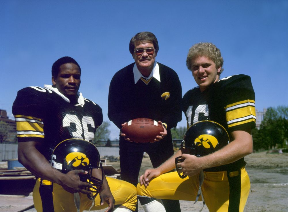 Historic Photos of Hayden Fry with Chuck Long and Larry Station