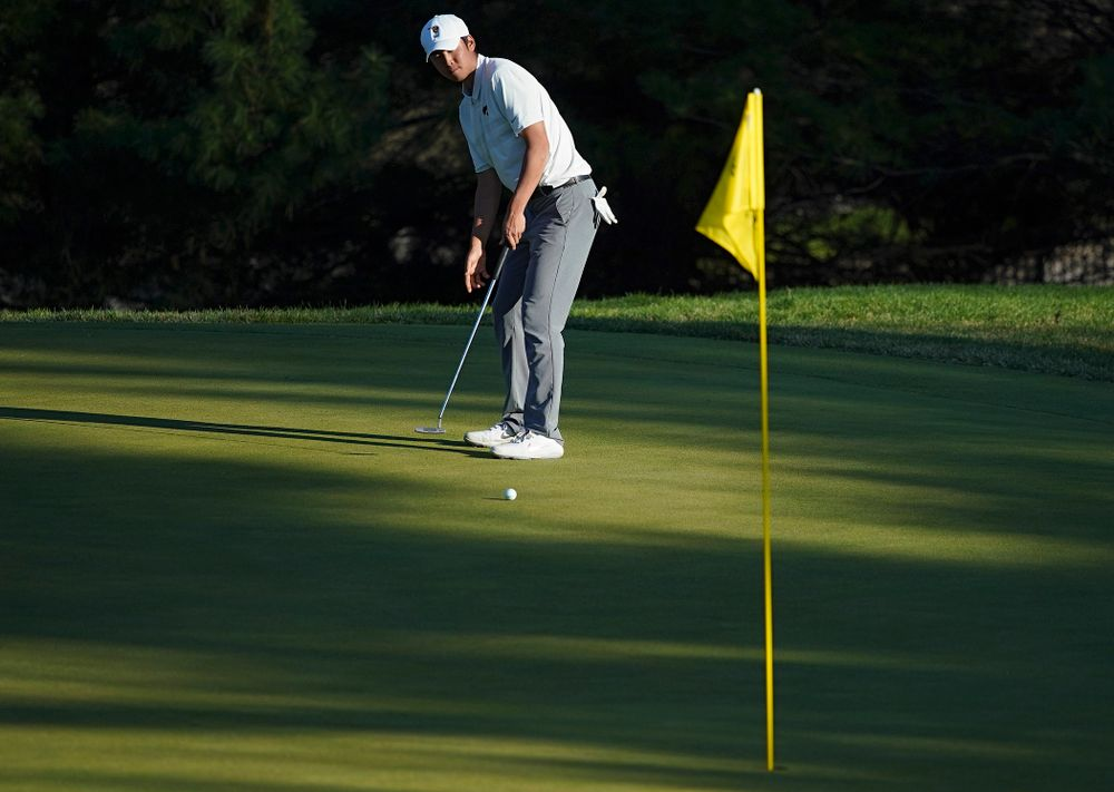 Iowa's Joe Kim putts during the second round of the Hawkeye Invitational at Finkbine Golf Course in Iowa City on Saturday, Apr. 20, 2019. (Stephen Mally/hawkeyesports.com)