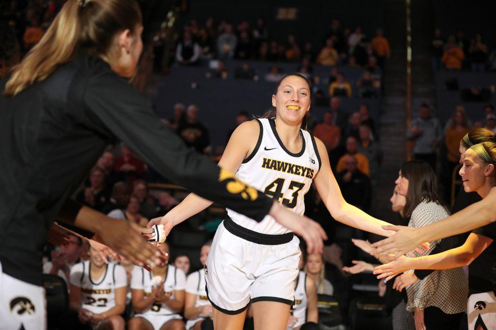 Iowa Hawkeyes forward Amanda Ollinger (43) against North Carolina Central Saturday, December 14, 2019 at Carver-Hawkeye Arena. (Brian Ray/hawkeyesports.com)