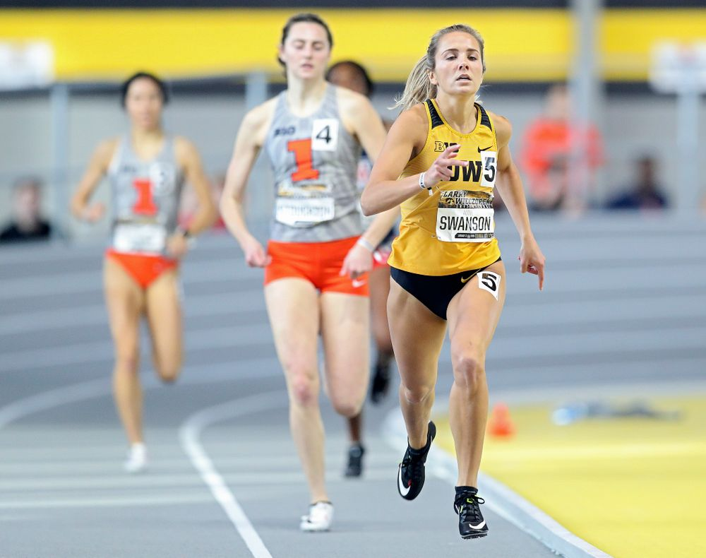 Iowa's Addie Swanson runs the women's 400 meter dash event during the Larry Wieczorek Invitational at the Recreation Building in Iowa City on Saturday, January 18, 2020. (Stephen Mally/hawkeyesports.com)