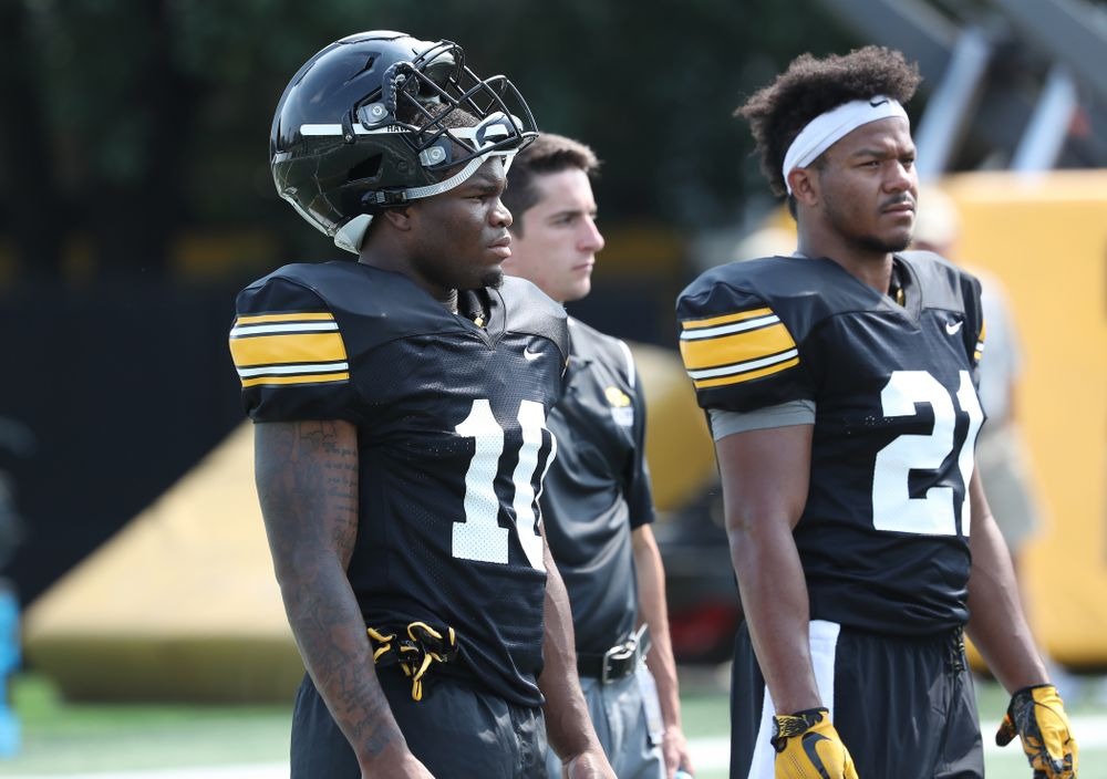 Iowa Hawkeyes running back Mekhi Sargent (10) and running back Ivory Kelly-Martin (21) during the third practice of fall camp Sunday, August 5, 2018 at the Kenyon Football Practice Facility. (Brian Ray/hawkeyesports.com)