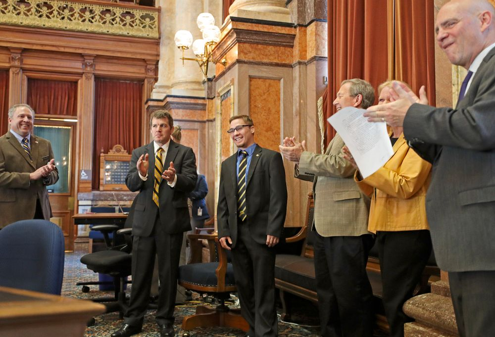Iowa's Spencer Lee is honored in the House Chamber at the Iowa State Capitol Building on Tuesday, Apr. 9, 2019. (Stephen Mally/hawkeyesports.com)