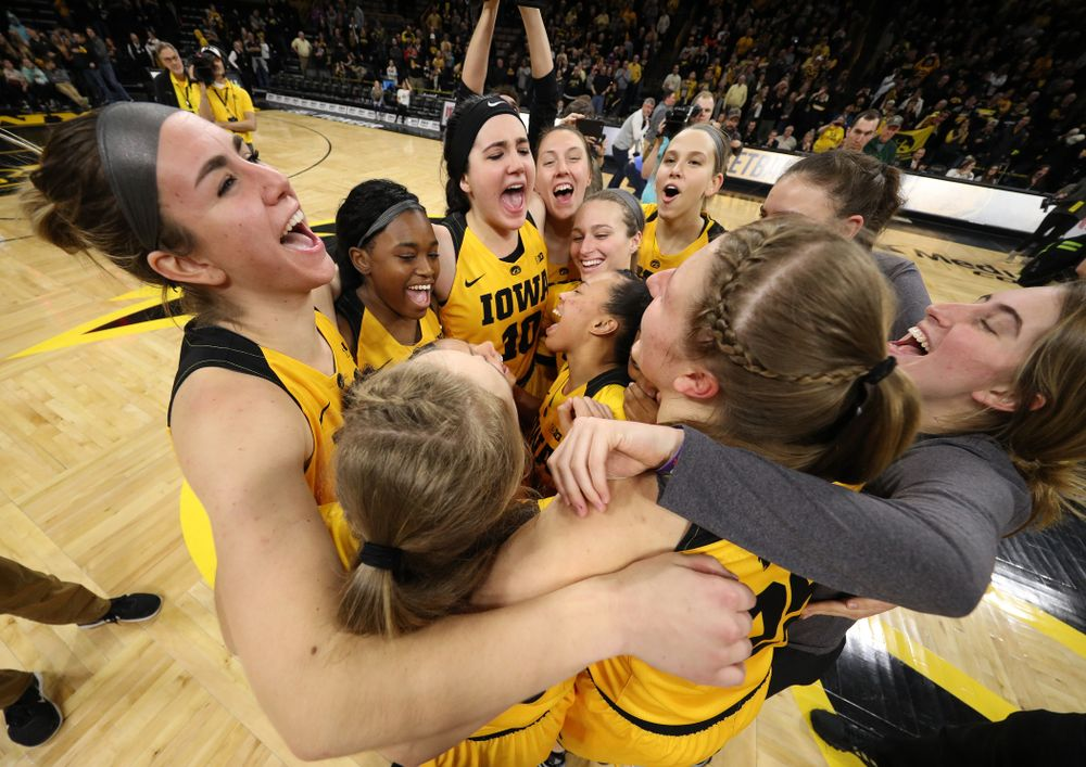 The Iowa Hawkeyes during senior day ceremonies following their game against the Northwestern Wildcats Sunday, March 3, 2019 at Carver-Hawkeye Arena. (Brian Ray/hawkeyesports.com)