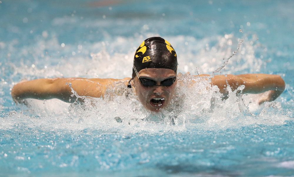 Iowa's Sarah Schemmel competes in the 100-yard butterfly during the third day of the Hawkeye Invitational at the Campus Recreation and Wellness Center on November 16, 2018. (Tork Mason/hawkeyesports.com)