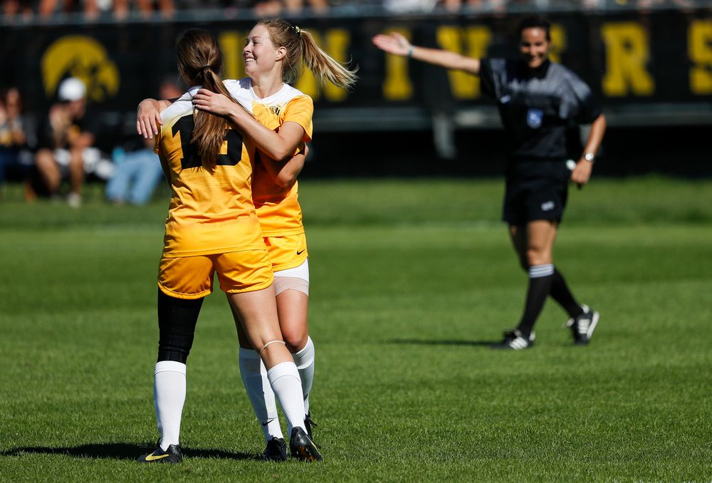 Iowa Hawkeyes forward Rose Ripslinger (15) and Iowa Hawkeyes midfielder Natalie Winters (10) celebrate after Ripslinger's goal during a game against Indiana at the Iowa Soccer Complex on September 23, 2018. (Tork Mason/hawkeyesports.com)