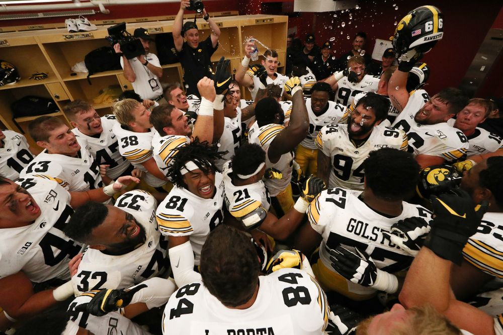 The Iowa Hawkeyes celebrate their victory over the Iowa State Cyclones Saturday, September 14, 2019 in Ames, Iowa. (Brian Ray/hawkeyesports.com)