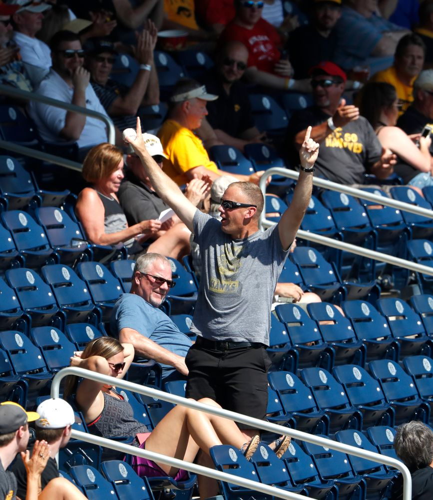 A fan of the Iowa Hawkeyes against the Michigan Wolverines in the first round of the Big Ten Baseball Tournament  Wednesday, May 23, 2018 at TD Ameritrade Park in Omaha, Neb. (Brian Ray/hawkeyesports.com)