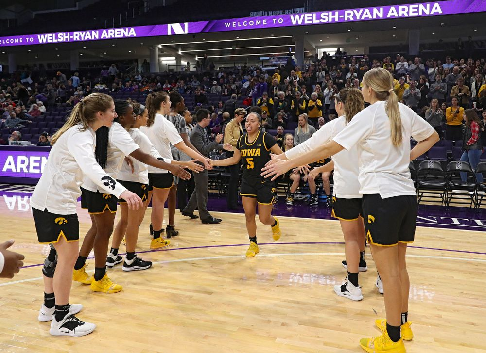 Iowa Hawkeyes guard Alexis Sevillian (5) is introduced before their game at Welsh-Ryan Arena in Evanston, Ill. on Sunday, January 5, 2020. (Stephen Mally/hawkeyesports.com)