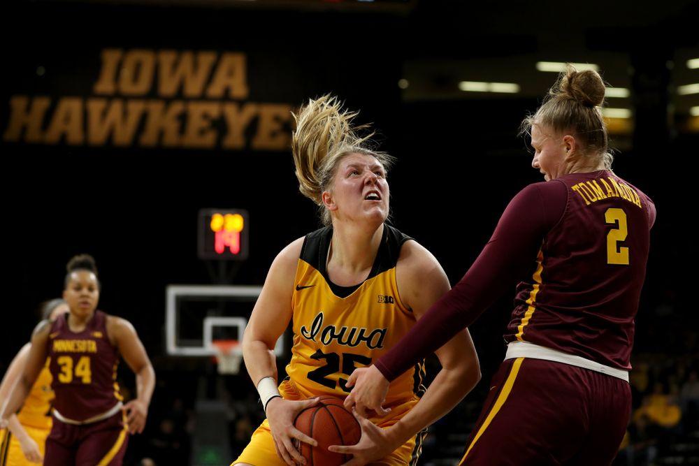 Iowa Hawkeyes forward/center Monika Czinano (25) against the Minnesota Golden Gophers Thursday, February 27, 2020 at Carver-Hawkeye Arena. (Brian Ray/hawkeyesports.com)