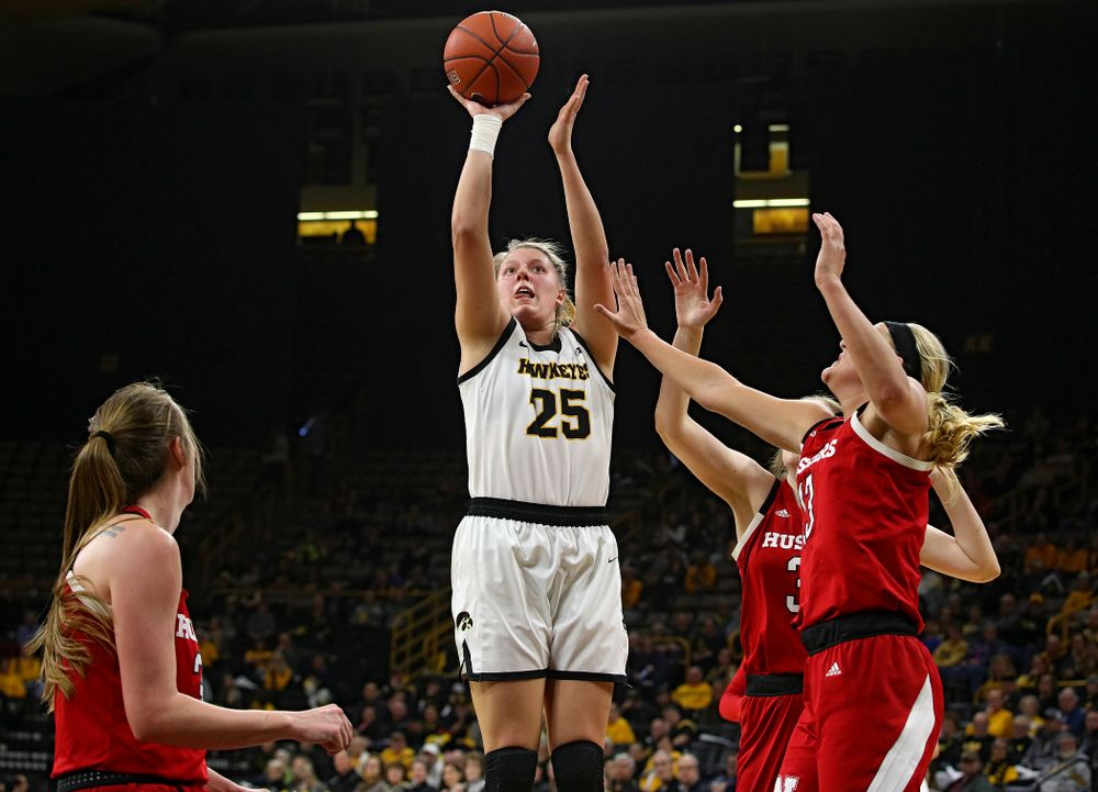 Iowa Hawkeyes forward Monika Czinano (25) puts up a shot during the first quarter of the game at Carver-Hawkeye Arena in Iowa City on Thursday, February 6, 2020. (Stephen Mally/hawkeyesports.com)