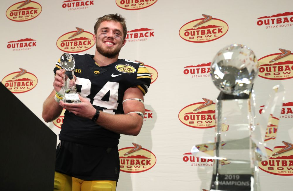 MVP Iowa Hawkeyes wide receiver Nick Easley (84) following their Outback Bowl victory Tuesday, January 1, 2019 at Raymond James Stadium in Tampa, FL. (Brian Ray/hawkeyesports.com)
