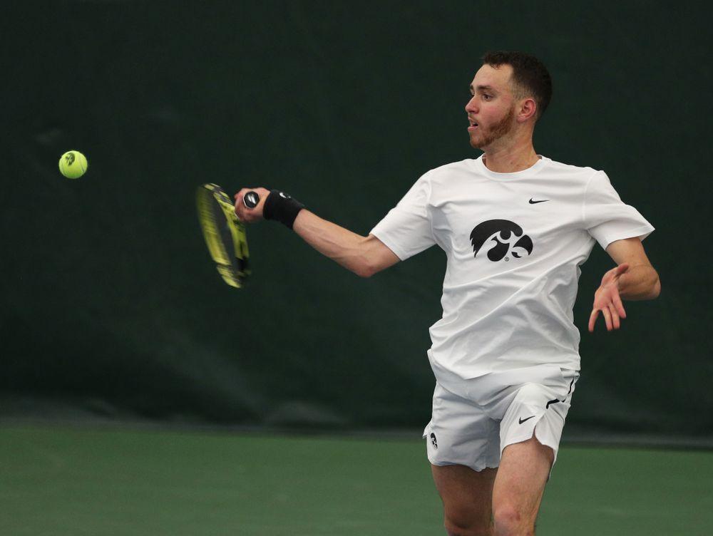 Iowa's Karem Allaf against Cornell Sunday, March 8, 2020 at the Hawkeye Tennis and Recreation Center. (Brian Ray/hawkeyesports.com)