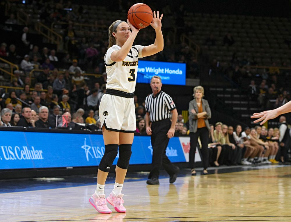 Iowa Hawkeyes guard Makenzie Meyer (3) makes a 3-pointer during the second quarter of the game at Carver-Hawkeye Arena in Iowa City on Thursday, February 6, 2020. (Stephen Mally/hawkeyesports.com)