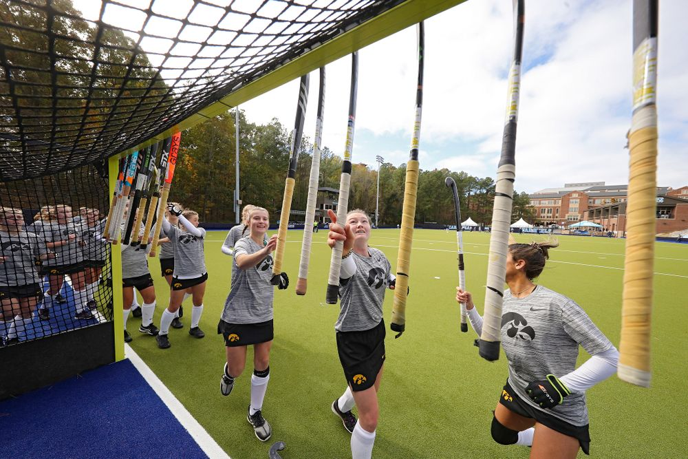 The Hawkeyes warm up before their NCAA Tournament Second Round match against North Carolina at Karen Shelton Stadium in Chapel Hill, N.C. on Sunday, Nov 17, 2019. (Stephen Mally/hawkeyesports.com)