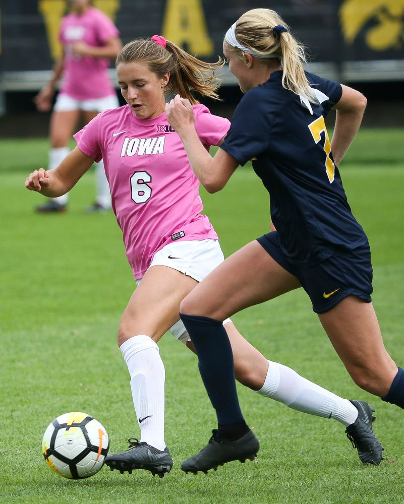 Iowa Hawkeyes midfielder Isabella Blackman (6) dribbles the ball during a game against Michigan at the Iowa Soccer Complex on October 14, 2018. (Tork Mason/hawkeyesports.com)