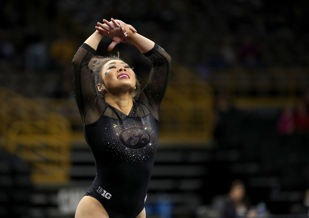 Iowa's Claire Kaji competes on the floor against Michigan Friday, February 14, 2020 at Carver-Hawkeye Arena. (Brian Ray/hawkeyesports.com)