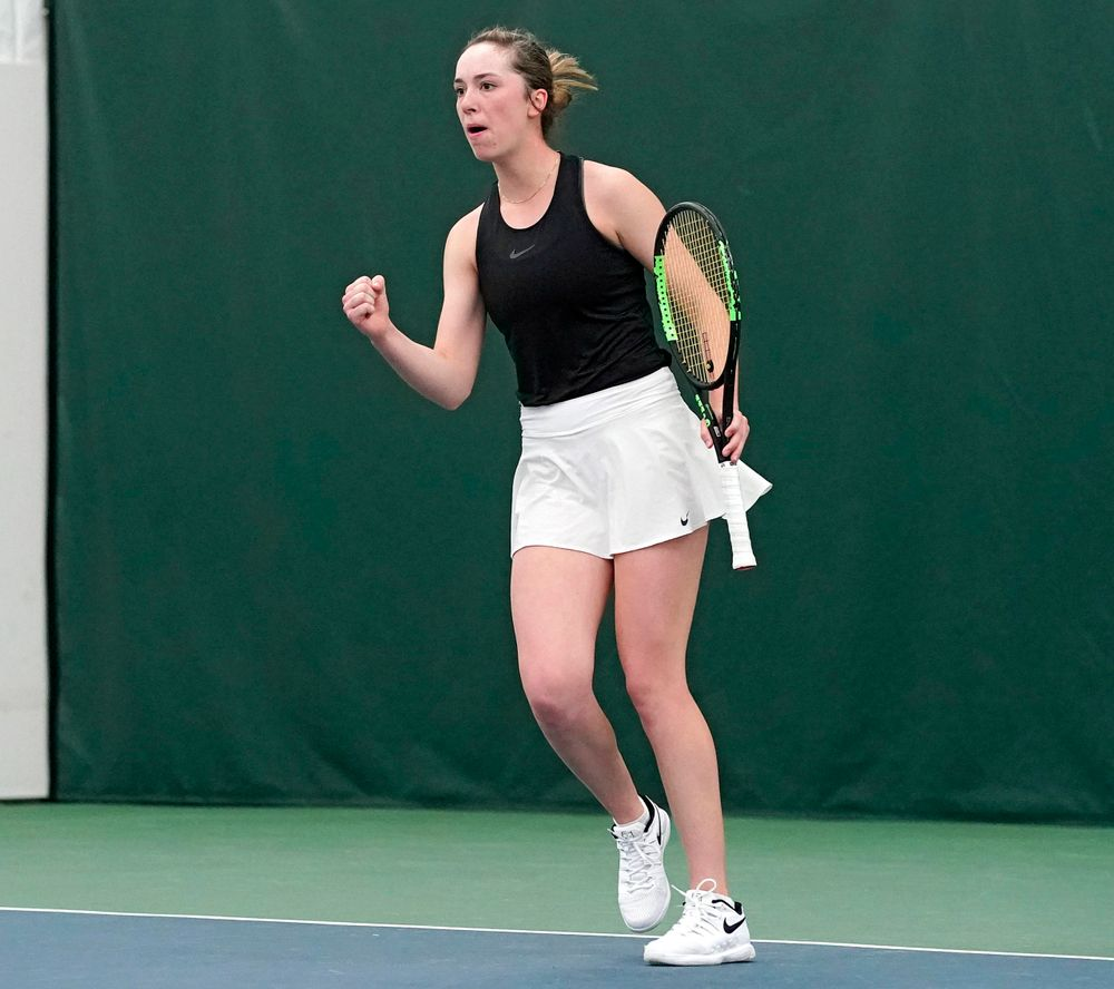 Iowa's Samantha Mannix celebrates during their doubles match against Indiana at the Hawkeye Tennis and Recreation Complex in Iowa City on Sunday, Mar. 31, 2019. (Stephen Mally/hawkeyesports.com)