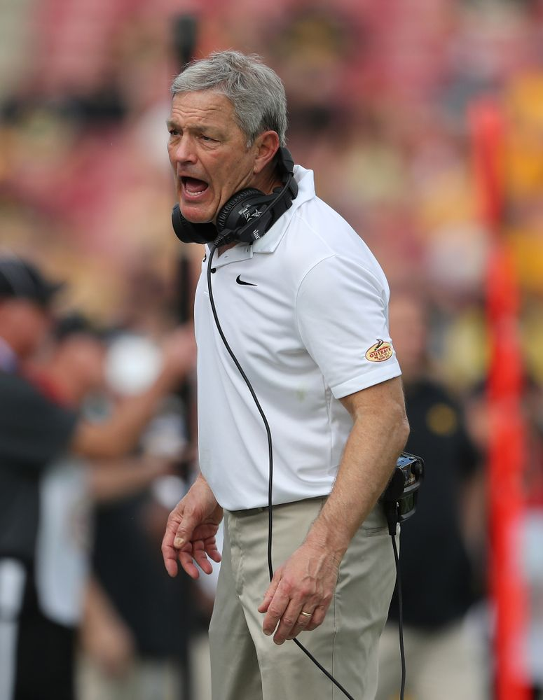 Iowa Hawkeyes head coach Kirk Ferentz during the Outback Bowl Tuesday, January 1, 2019 at Raymond James Stadium in Tampa, FL. (Brian Ray/hawkeyesports.com)