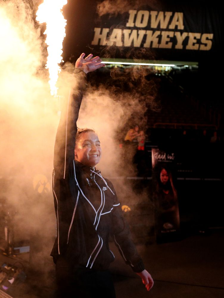 Iowa's Mackenzie Vance is introduced before their meet against Southeast Missouri State Friday, January 11, 2019 at Carver-Hawkeye Arena. (Brian Ray/hawkeyesports.com)