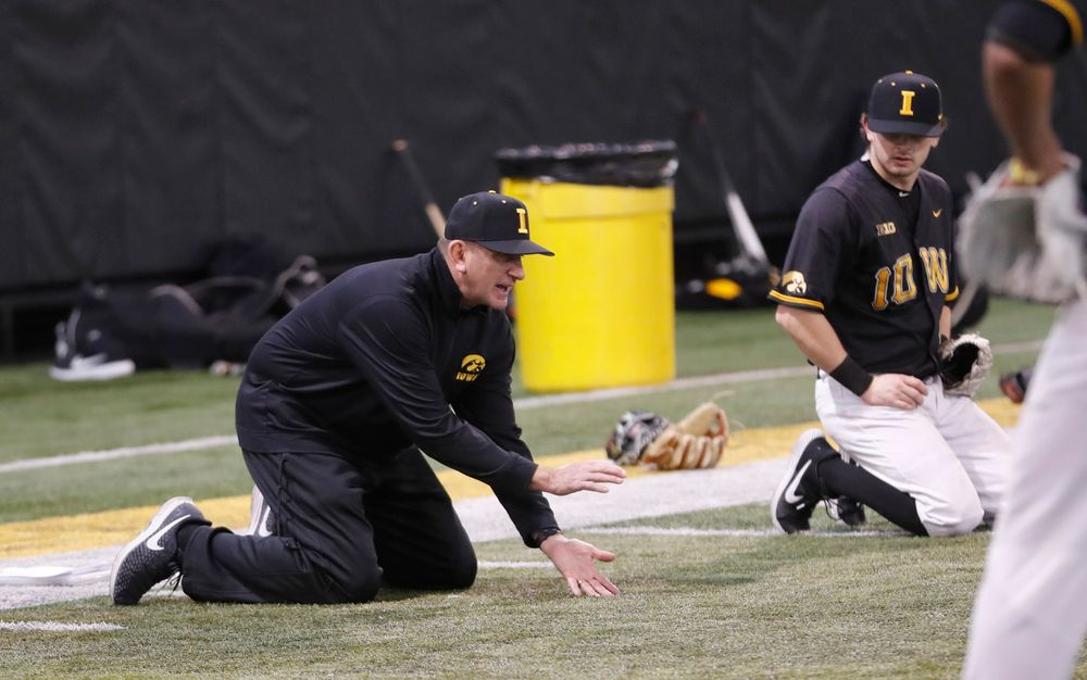 Rick Heller at first baseball practice on Jan. 25, 2019. (Darren Miller/hawkeyesports.com)