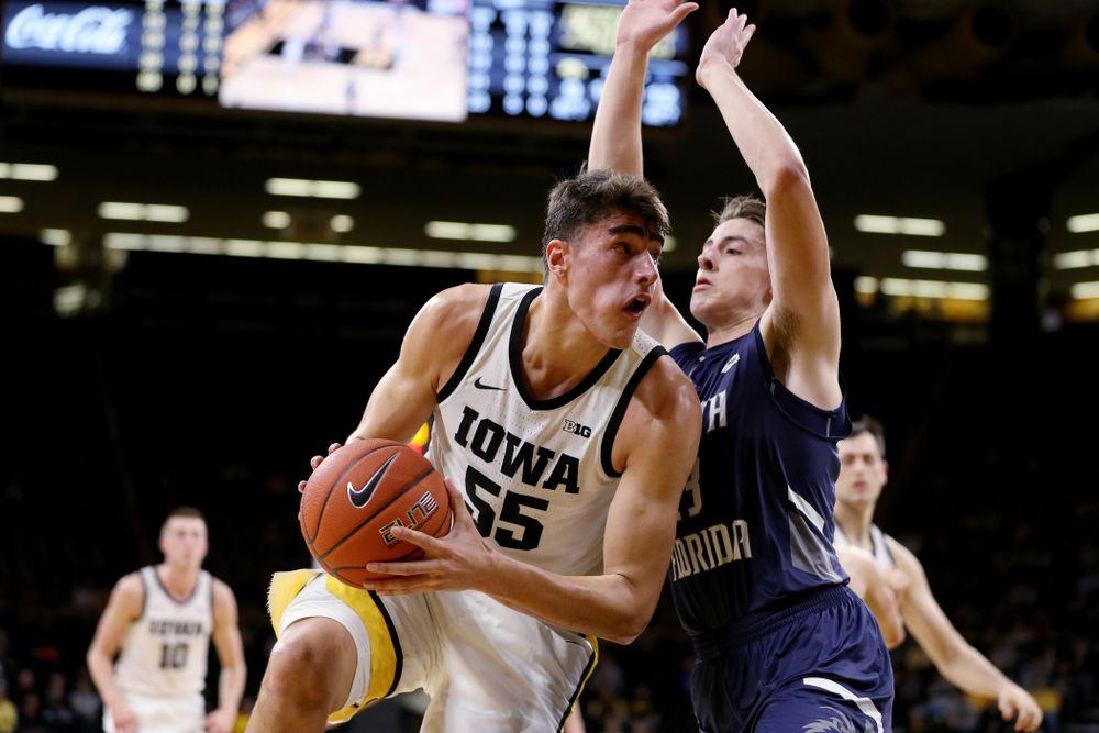 Iowa Hawkeyes forward Luka Garza (55) against North Florida Thursday, November 21, 2019 at Carver-Hawkeye Arena. (Brian Ray/hawkeyesports.com)