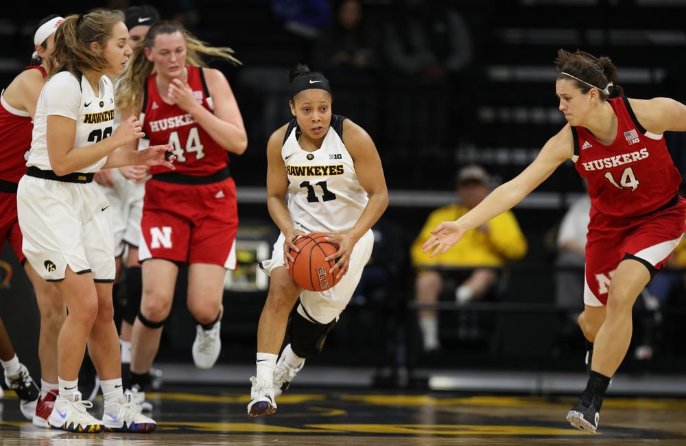 Iowa Hawkeyes guard Tania Davis (11) against the Nebraska Cornhuskers Thursday, January 3, 2019 at Carver-Hawkeye Arena. (Brian Ray/hawkeyesports.com)