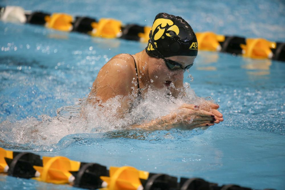 Iowa's Aleksandra Olesiak swims the 100-yard breaststroke during the Iowa swimming and diving meet vs Notre Dame and Illinois on Saturday, January 11, 2020 at the Campus Recreation and Wellness Center. (Lily Smith/hawkeyesports.com)