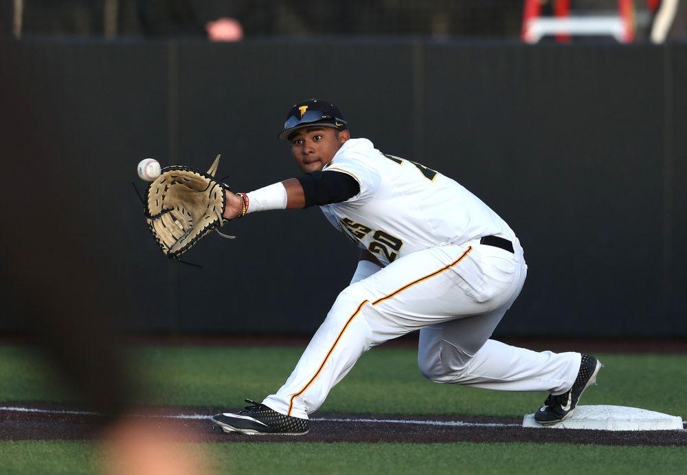Iowa Hawkeyes Izaya Fullard (20) during game one against UC Irvine Friday, May 3, 2019 at Duane Banks Field. (Brian Ray/hawkeyesports.com)