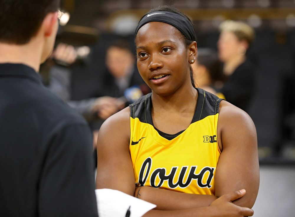 Iowa guard Zion Sanders (21) answers questions during Iowa Women's Basketball Media Day at Carver-Hawkeye Arena in Iowa City on Thursday, Oct 24, 2019. (Stephen Mally/hawkeyesports.com)