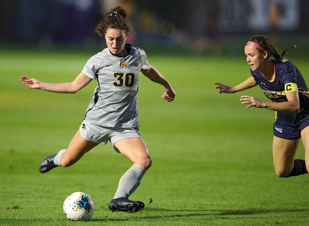 Iowa forward Devin Burns (30) lines up a shot during the first half of their match at the Iowa Soccer Complex in Iowa City on Friday, Sep 13, 2019. (Stephen Mally/hawkeyesports.com)