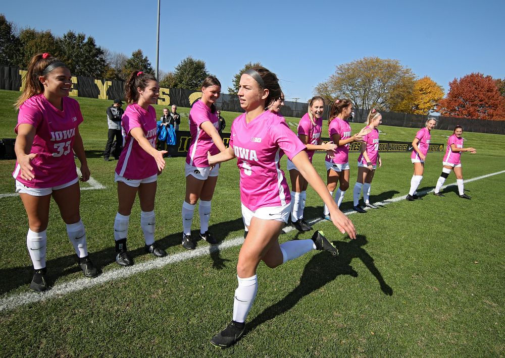 Iowa defender Riley Whitaker (5) takes the field before their match at the Iowa Soccer Complex in Iowa City on Sunday, Oct 27, 2019. (Stephen Mally/hawkeyesports.com)