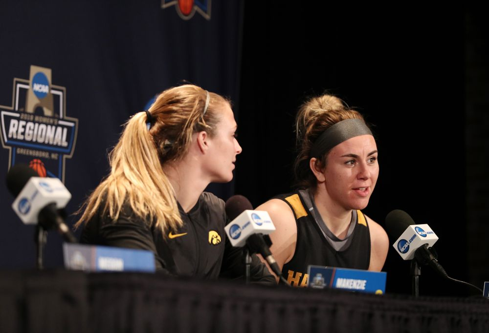 Iowa Hawkeyes forward Hannah Stewart (21) during practice and media before the regional final of the 2019 NCAA Women's College Basketball Tournament against the Baylor Bears Sunday, March 31, 2019 at Greensboro Coliseum in Greensboro, NC.(Brian Ray/hawkeyesports.com)