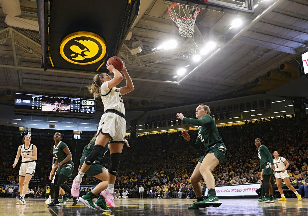 Iowa Hawkeyes guard Makenzie Meyer (3) scores a basket during the second quarter of their game at Carver-Hawkeye Arena in Iowa City on Sunday, January 26, 2020. (Stephen Mally/hawkeyesports.com)