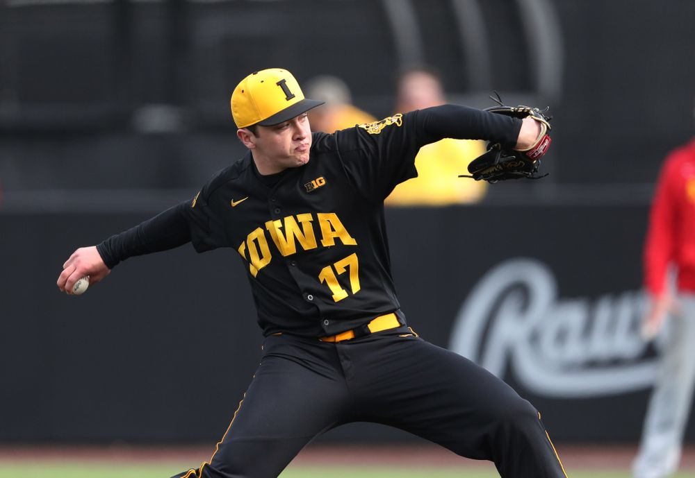 Iowa Hawkeyes Clayton Nettleton (17) against Simpson College Tuesday, March 19, 2019 at Duane Banks Field. (Brian Ray/hawkeyesports.com)