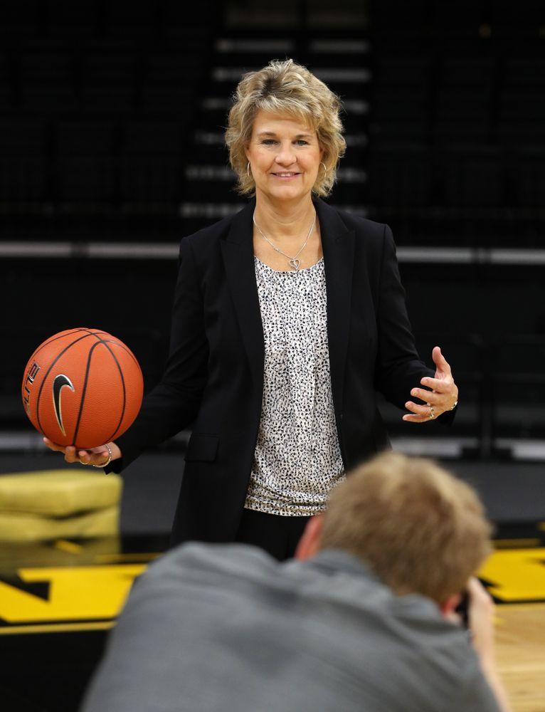 Iowa Hawkeyes head coach Lisa Bluder  during the team's annual media day Wednesday, October 31, 2018 at Carver-Hawkeye Arena. (Brian Ray/hawkeyesports.com)