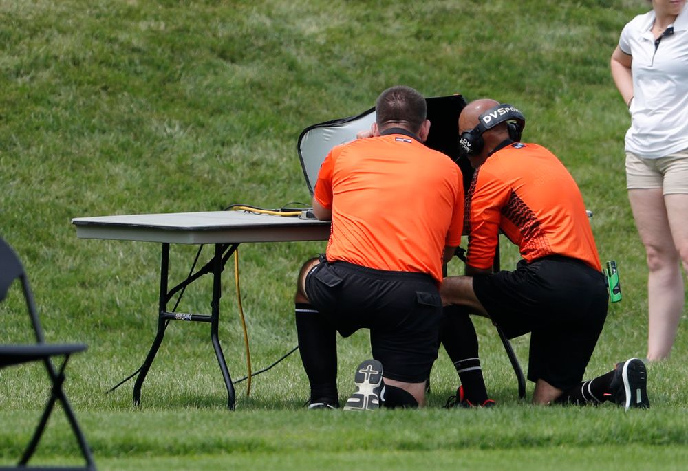 The officials check the video review of a disallowed goal against the Creighton Bluejays  Sunday, August 19, 2018 at the Iowa Soccer Complex. (Brian Ray/hawkeyesports.com)