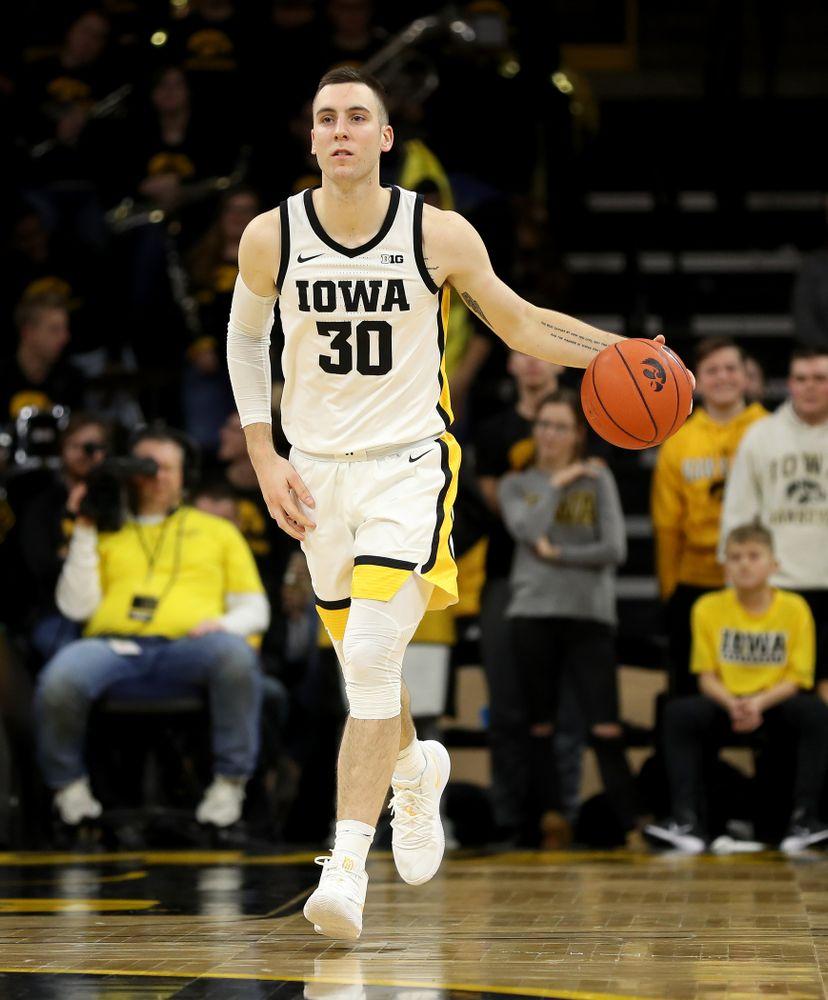 Iowa Hawkeyes guard Connor McCaffery (30) against the Michigan Wolverines Friday, January 17, 2020 at Carver-Hawkeye Arena. (Brian Ray/hawkeyesports.com)