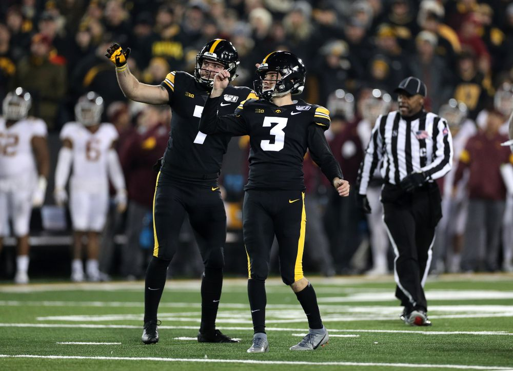 Iowa Hawkeyes place kicker Keith Duncan (3) and punter Colten Rastetter (7) against the Minnesota Golden Gophers Saturday, November 16, 2019 at Kinnick Stadium. (Brian Ray/hawkeyesports.com)