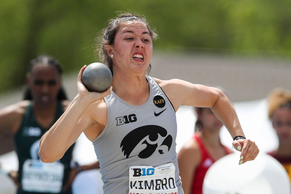 Iowa's Jenny Kimbro during the women's shot put at the Big Ten Outdoor Track and Field Championships at Francis X. Cretzmeyer Track on Friday, May 10, 2019. (Lily Smith/hawkeyesports.com)